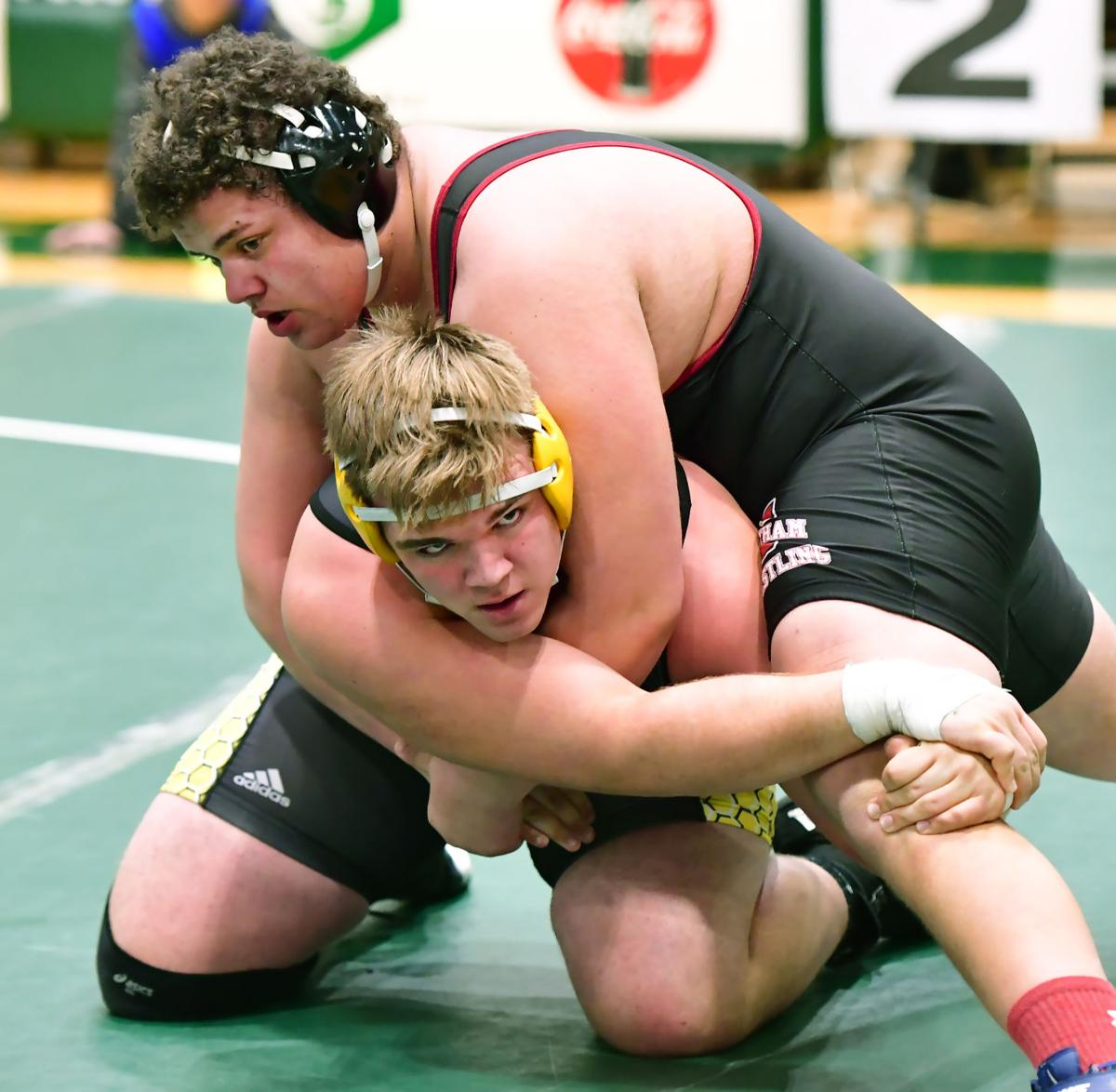 Cheatham's James Cothran (top) wrestles Fairview's Jackson Clevenger in a 285-pound match at the TSSAA 4 A-AA tournament. Clevenger won the match.jpg