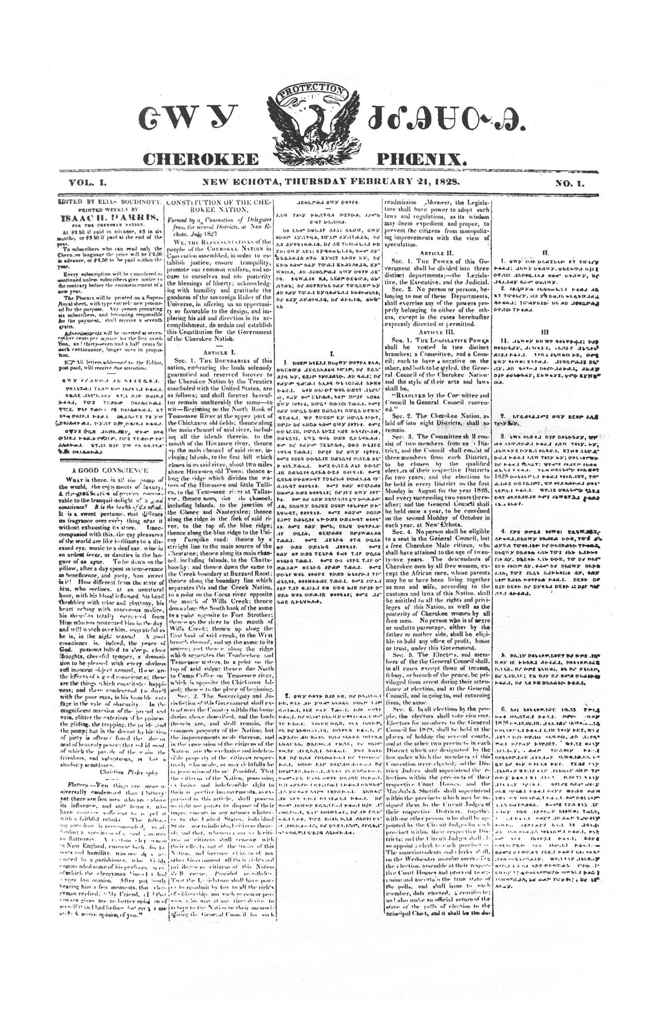 Replica of the Feb. 21, 1828 Issue of the Cherokee Phoenix