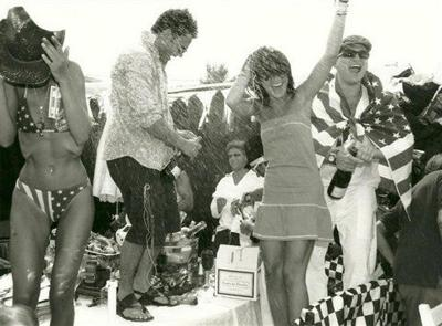 Dancing on tables in St. Tropez celebrating U.S. Independence Day.