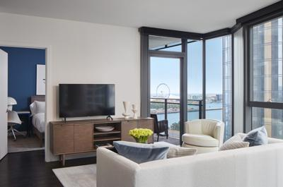 First residents move into Cascade, a luxury apartment development in Lakeshore East. Shown here, a 2 bedroom unit. (Photo by David Burk)