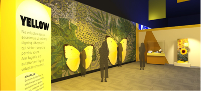 A rendering of part of the Wild Color exhibit coming to the Field Museum. (Image courtesy of ©Field Museum)