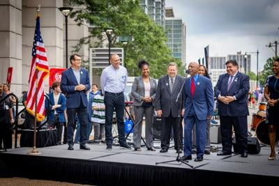 Dignitaries opening Thursday night's Chicago Auto Show and its newest street festival element.