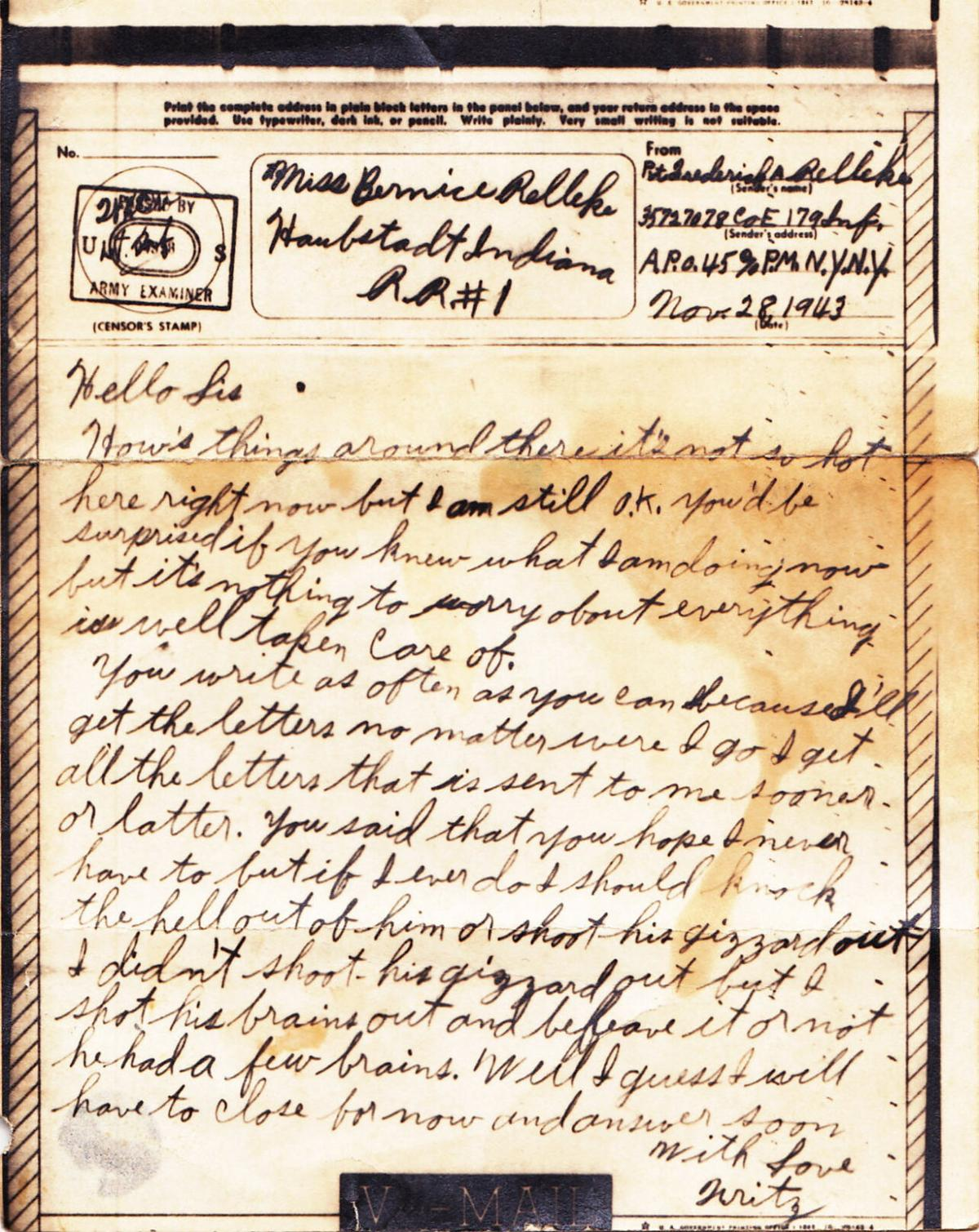 World War II letter