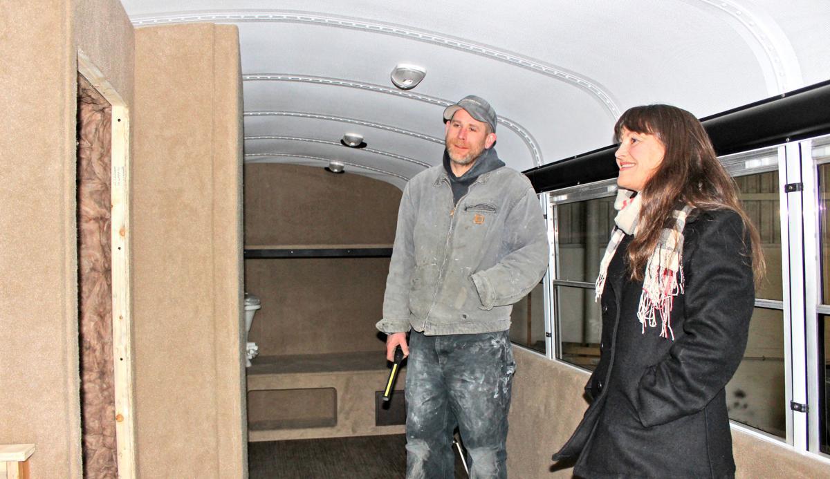 Bus adventure: Ashlin Cadinha and Jen Reinmuth-Birch