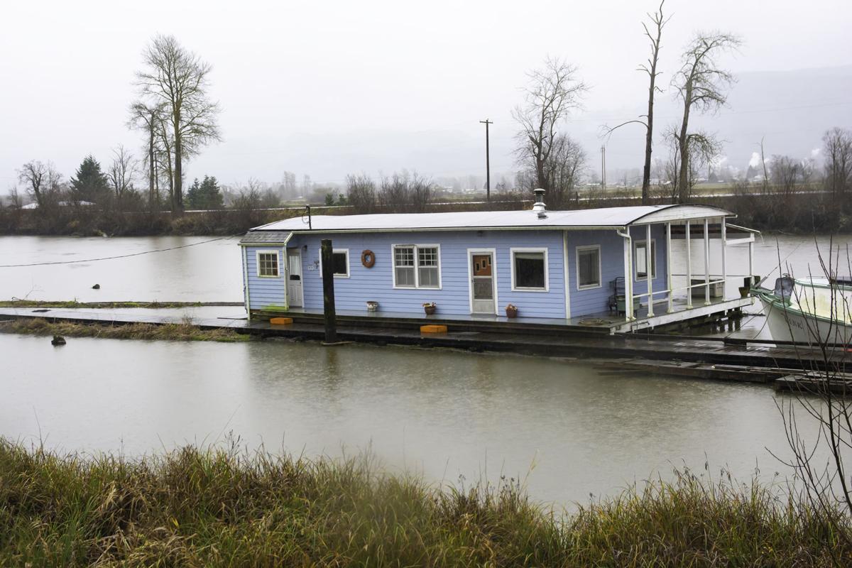 Blue houseboat