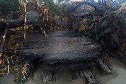 Vanishing beach reveals mystery shipwreck