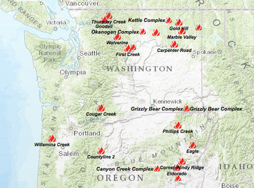 Spokane Wildfire Map.In Historic Move State Asks Citizens To Help Fight Fires