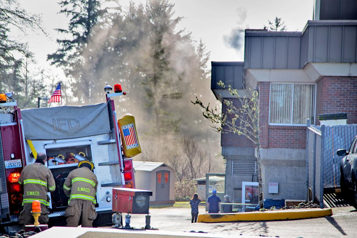 Smoke drifts from Ilwaco hospital