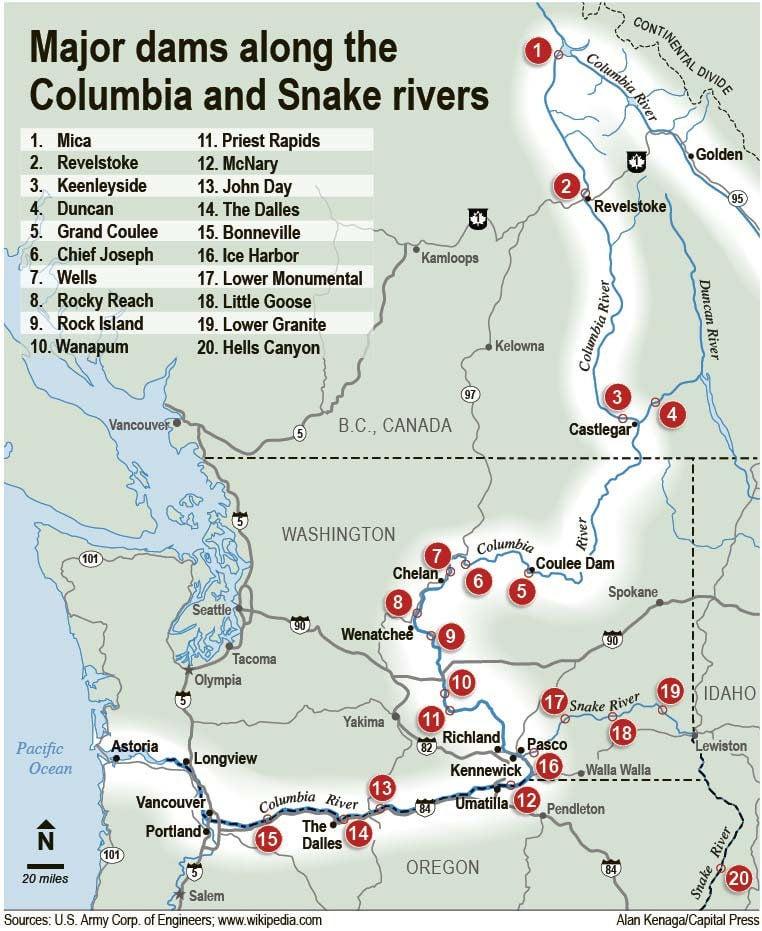 Sandison Optimistic Us Canada Will Renegotiate Columbia River - Columbia-river-map-us