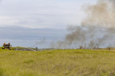 Dune grass fire