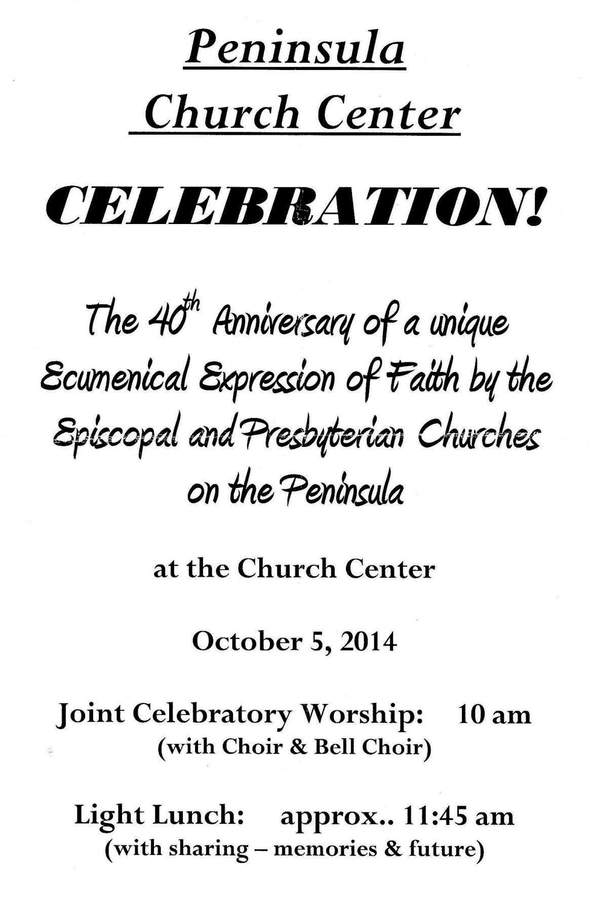 Peninsula Church Center celebrates 40 ecumenical years