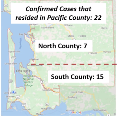 Pacific County covid-19 case map