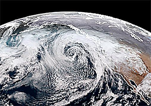 Cyclone off Pacific Northwest coast