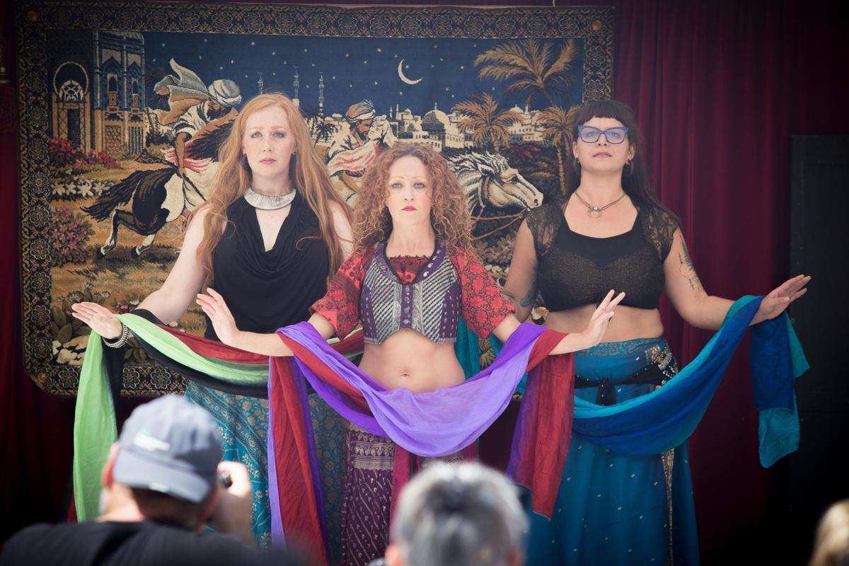 A trio of belly dancers perform a routine Saturday, August 18 during the 8th annual Belly Dance Festival at the Painted Lady Lavender Farm.