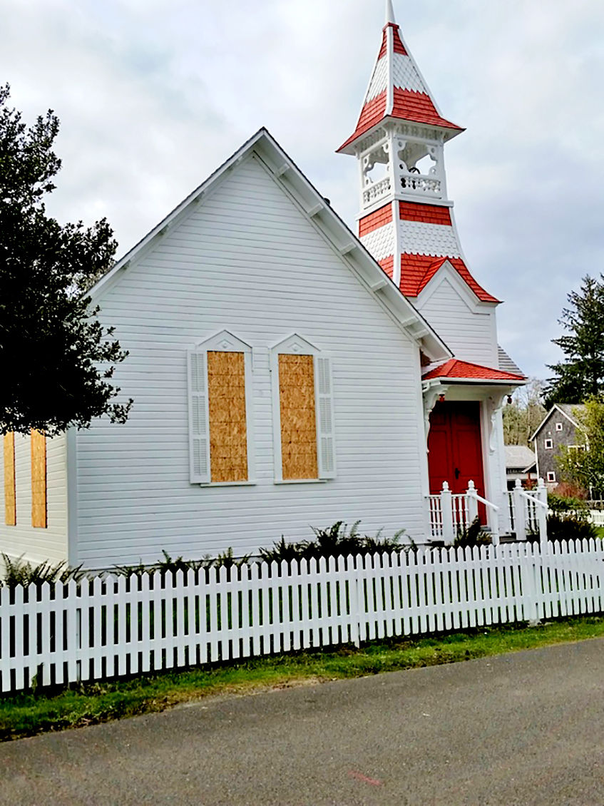 Oysterville Church board up exterior