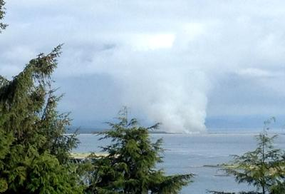 Fire burning in Fort Stevens State Park