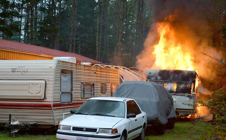 Travel trailer burns up but other structures saved