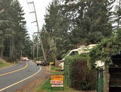 Accident knocks over power pole on Sandridge