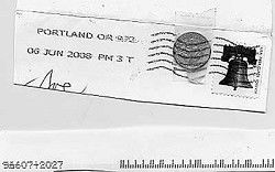 Letter: Dime travels to Camas taped to letter