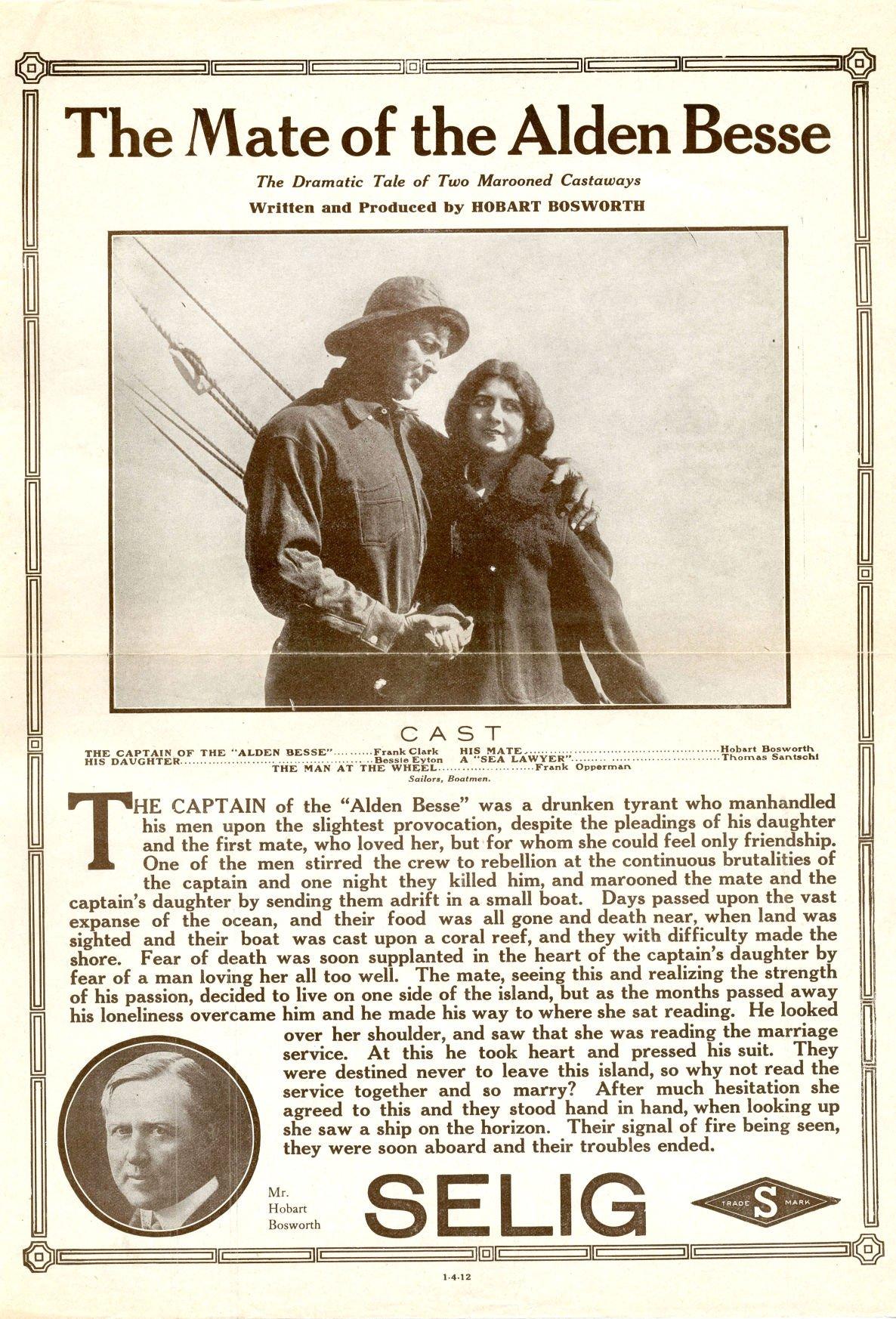 Movie advertisement for the 'Alden Besse'