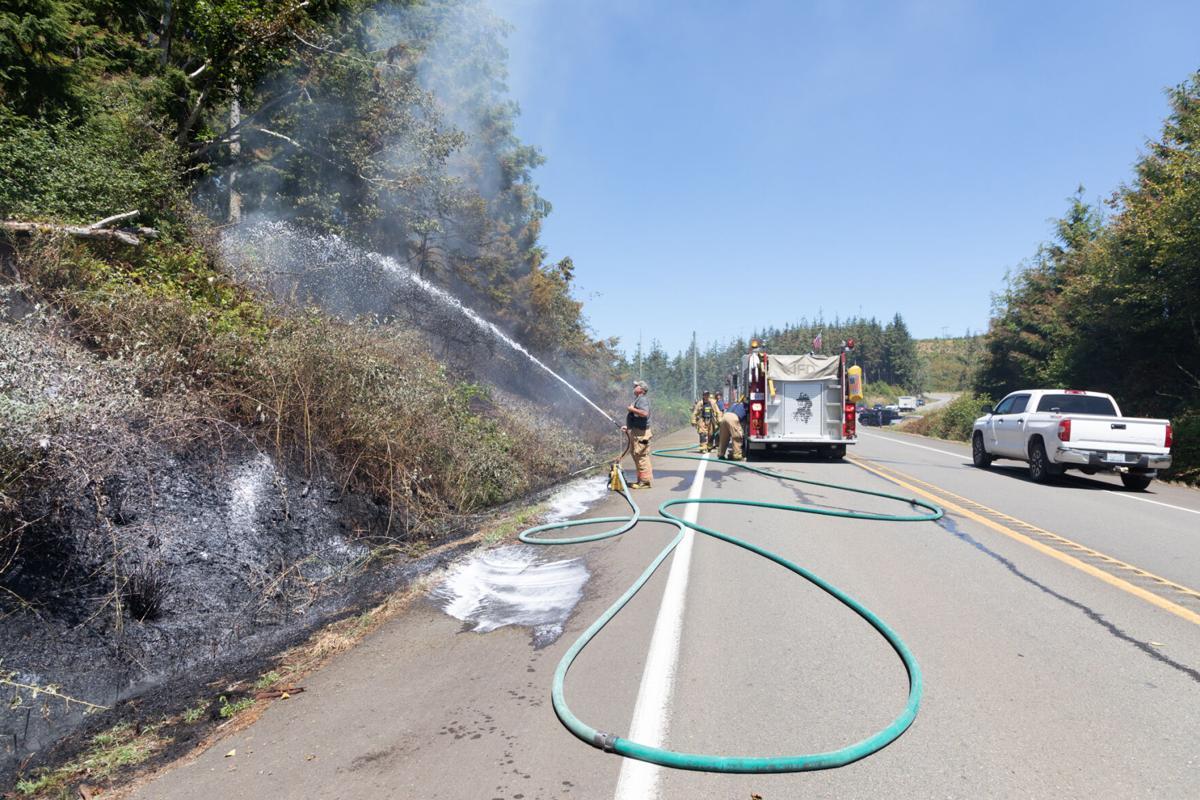 Vonseggern sprays a foam fire suppressant