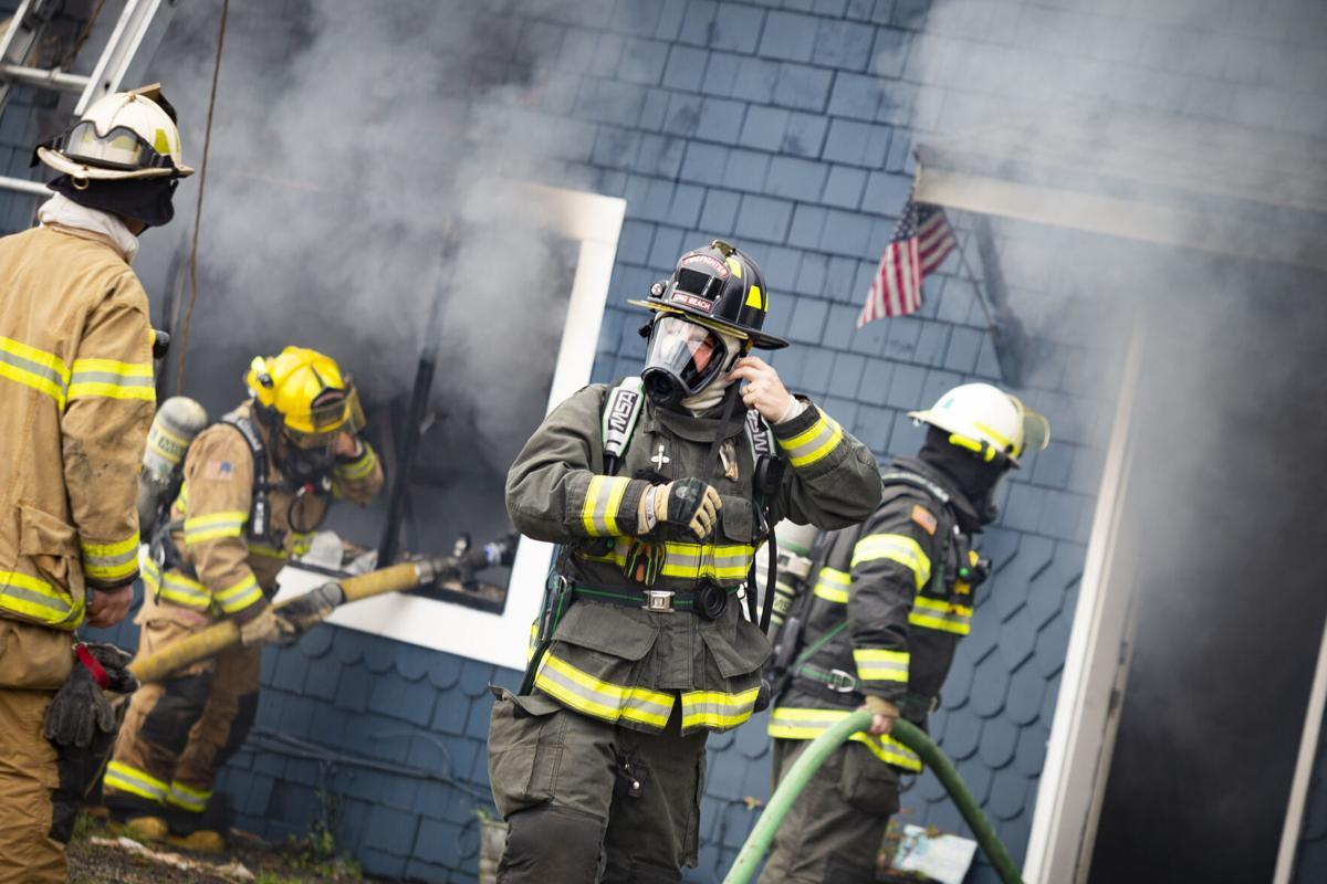 Firefighters battle fire