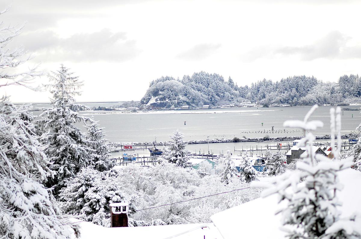 Ilwaco and Cape D frosted with snow
