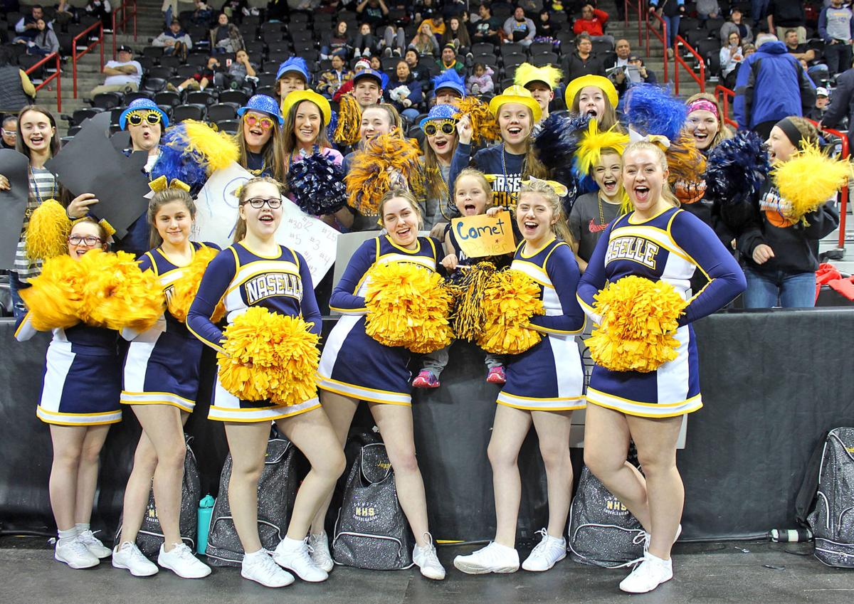 Naselle cheerleaders and fans at state tourney