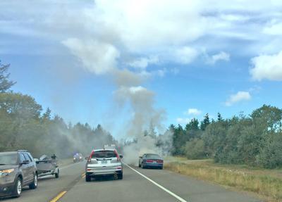 Car fire slows traffic near Chinook
