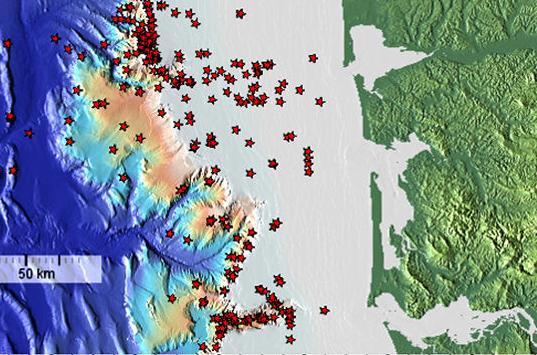 Methane seep locations of Washington's coast
