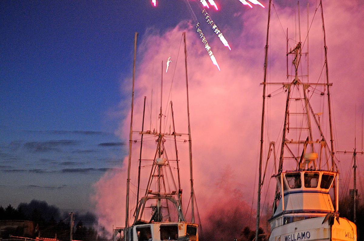 Commerical boats at fireworks show