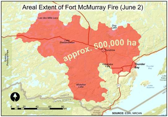 Fort Mcmurray Wildfire Map.Fort Mcmurray Fire Would Cover Much Of The Northwest Columns