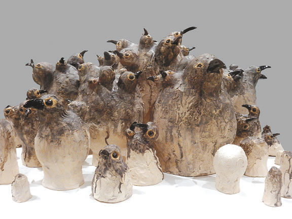 Flocks, a ceramic work by Katie Lemieux, is on display at the Thunder Bay Art Gallery.