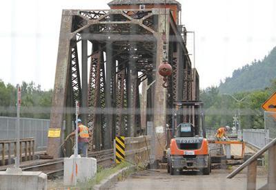 Swing bridge coming around