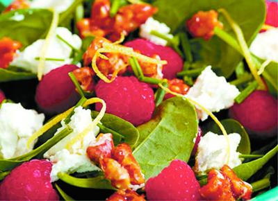 Chef House's Feta Raspberry Salad includes fresh raspberries and chives that are abundant in many home gardens.