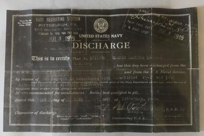 Claude Leonard Navy discharge paper