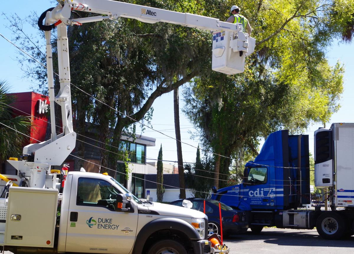 Semitrailer Knocks Down Power Lines Cables One Power Outage
