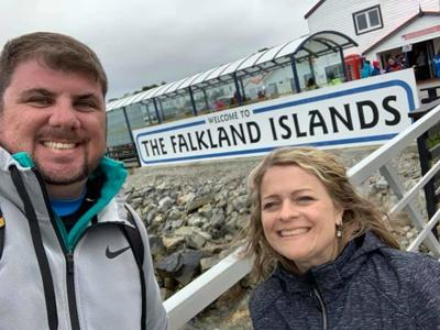 Steve and Laura Philips in Falkland Islands