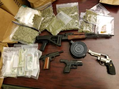 Fentanyl, guns, pot seized and six charged in three separate