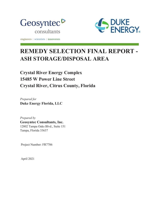 Geosyntec Final Coal-Ash Remedy Report For Duke Energy