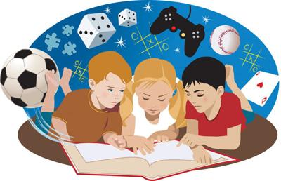Kids reading library books for 0828