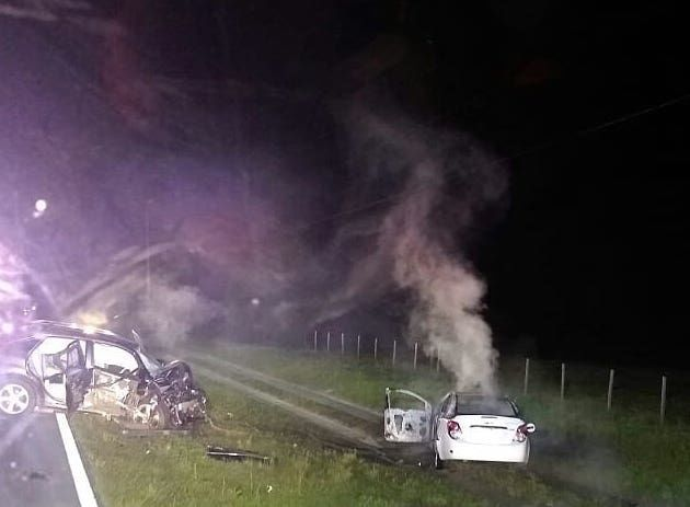 FHP: Driver cited in fiery crash that hospitalized three people was