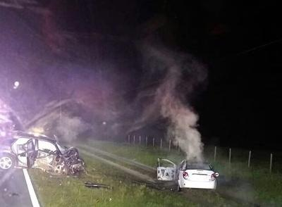 Three airlifted with traumatic injuries after fiery crash