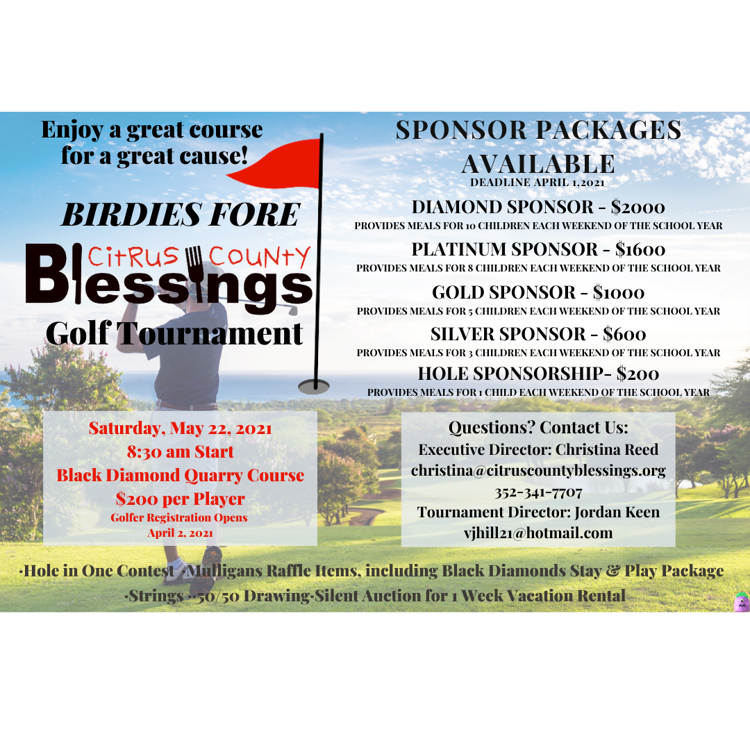 Birdies Fore Blessings Tournament Info
