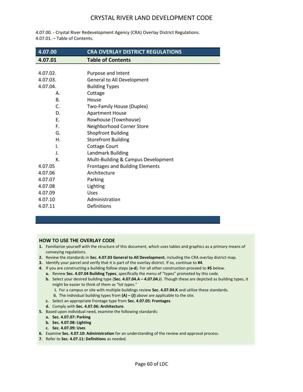 Crystal River's 2020 Community Redevelopment Area District Development Code