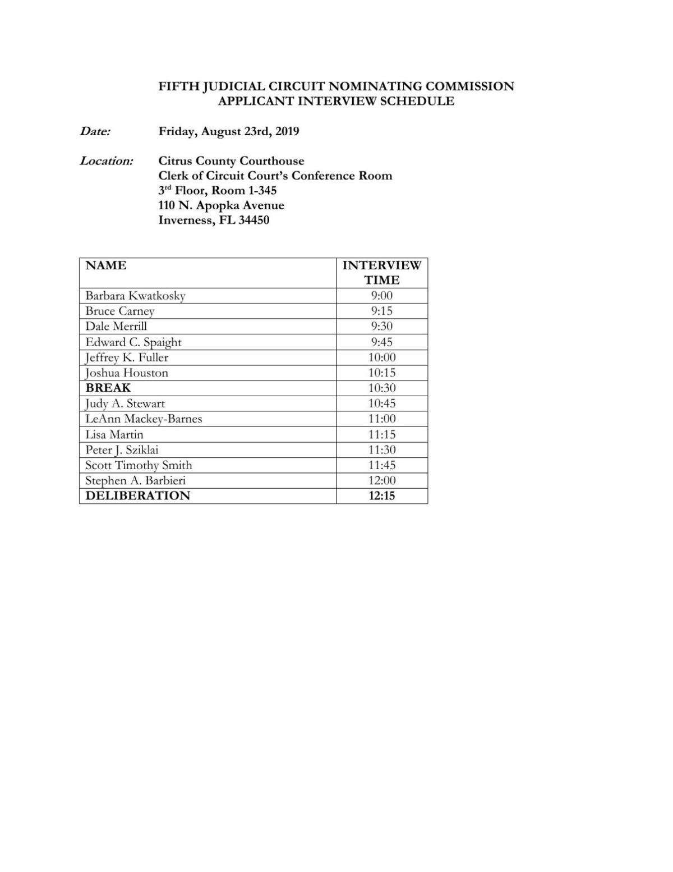 Citrus County Judge Applicant Interview Schedule
