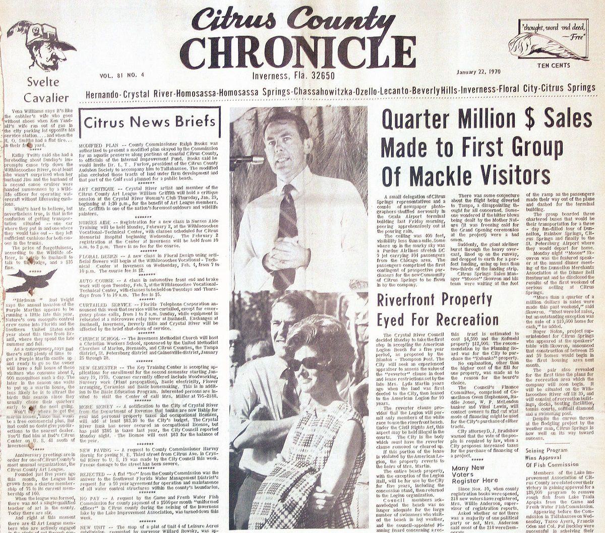 Citrus County Chronicle January 22, 1970