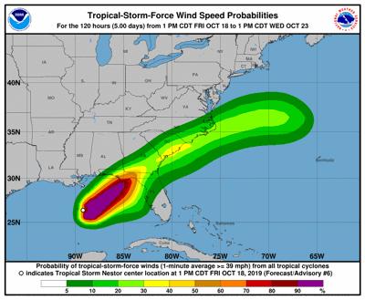 Tropical Storm Nestor wind speed probabilities