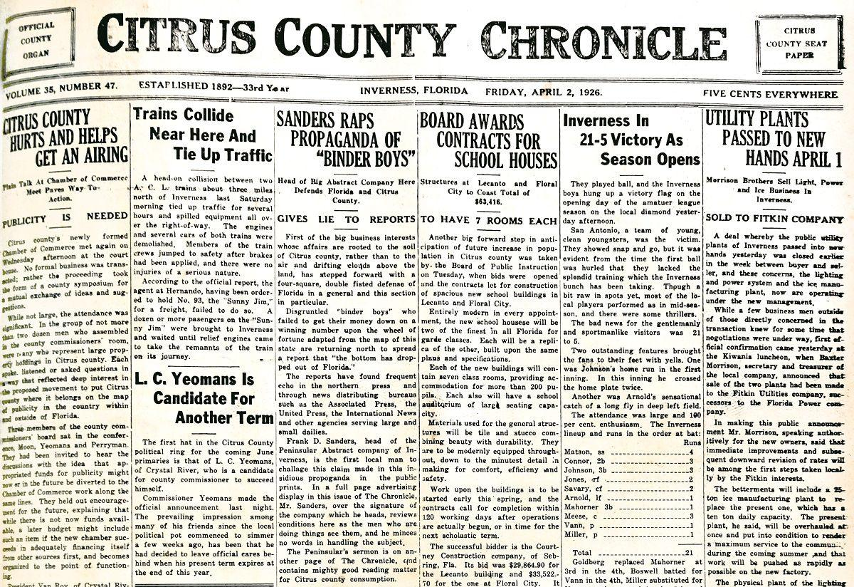 Citrus County Chronicle April 2, 1926