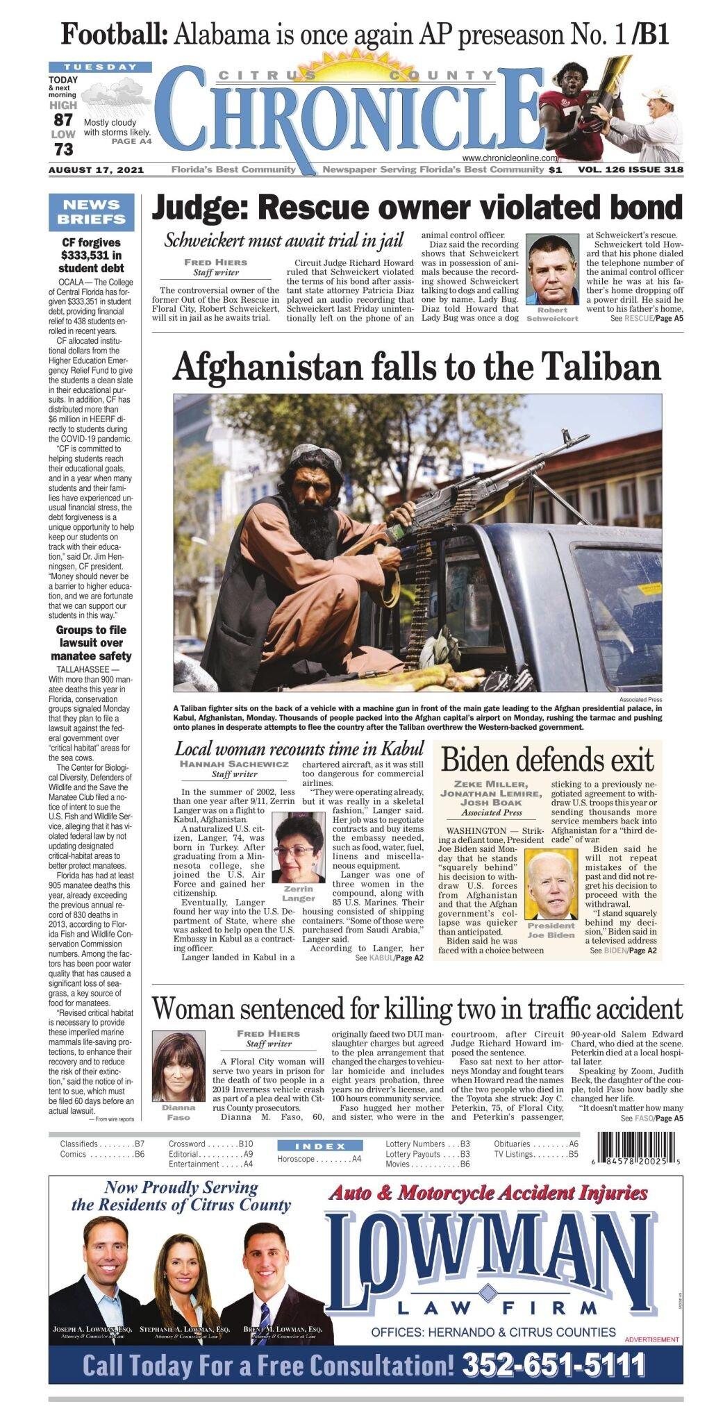 Citrus County Chronicle e-edition Aug 17, 2021